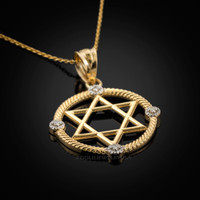 Gold Star of David Necklace Star of David Diamond Necklace Star of David Pendant Jewish pendant