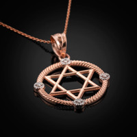 Rose Gold Star of David Necklace Star of David Diamond Necklace Star of David Pendant Jewish pendant