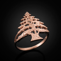 Rose Gold Cedar Tree of Lebanon Ring