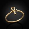 Ladies Gold Ankh Ring