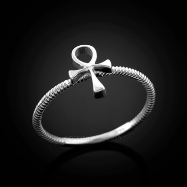 Ladies White Gold Ankh Ring