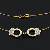 14k Gold Handcuffs Necklace with Diamond Accents