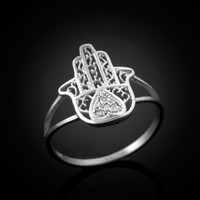Diamond White Gold Hamsa Ring