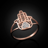Rose Gold Diamond Hamsa Ring
