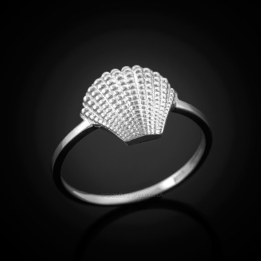 White Gold seashell ring.