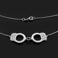 14k White Gold Handcuffs Necklace with Diamond Accents