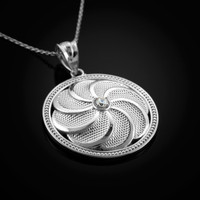 White Gold Armenian Eternity Shield Diamond Pendant Necklace