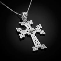 White Gold Armenian Cross Necklace