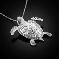 White gold turtle necklace