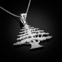 White Gold Cedar Tree of Lebanon Necklace