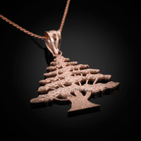 Rose gold cedar tree necklace