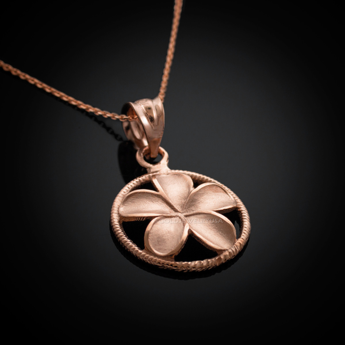 Rose Gold Hawaiian Plumeria Flower Charm Necklace