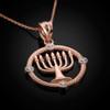 Rose Gold Menorah Necklace