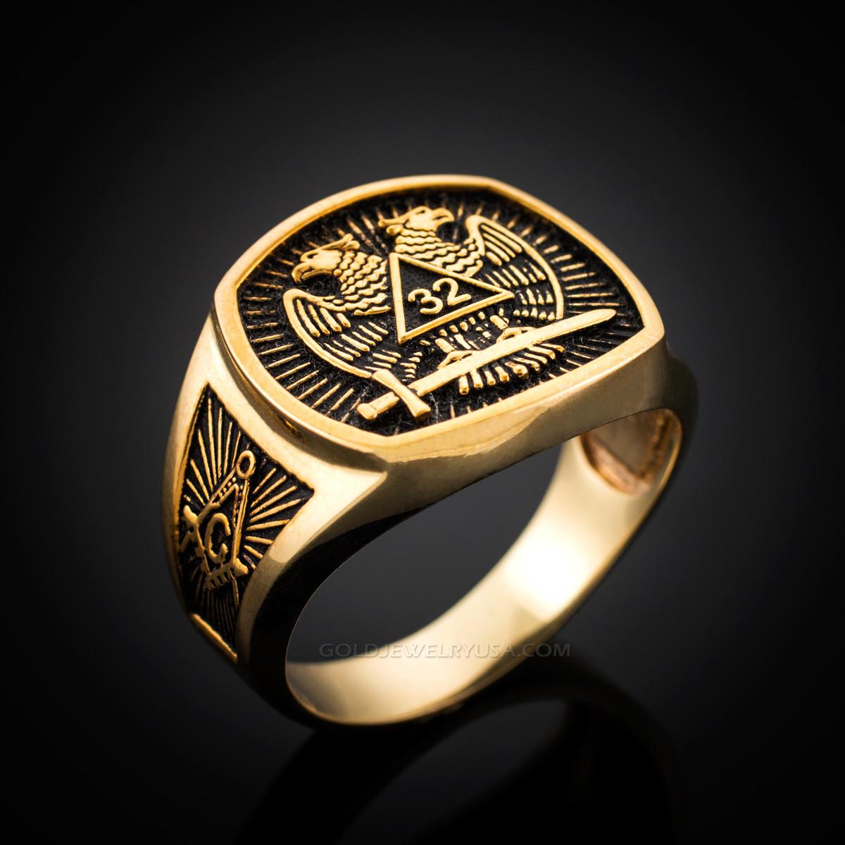f81c275432042 Dark Gold Double-headed Eagle Scottish Rite 32nd Degree Masonic Ring