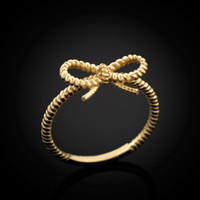 Gold Infinity Bow Knot ring
