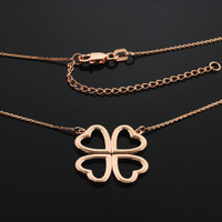 14K Rose Gold Four-Leaf Heart Clover Necklace