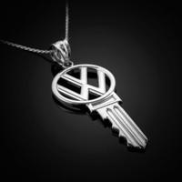 White Gold VW Key Necklace