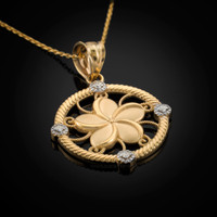 Gold Plumeria Pendant Necklace