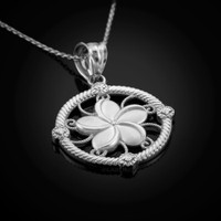 White Gold Plumeria Pendant Necklace