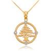 Gold Lebanon Cedar Tree Necklace