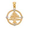 Gold Lebanon Cedar Tree Diamond pendant