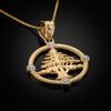 Gold Lebanon Cedar Tree Diamond Necklace