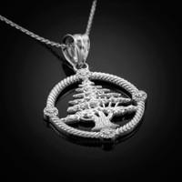 White Gold Cedar Tree Lebanon Necklace