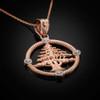 Rose Gold Cedar Tree Lebanon Necklace