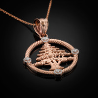 Rose Gold Cedar Tree Lebanon Necklace