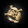 Gold biker ring
