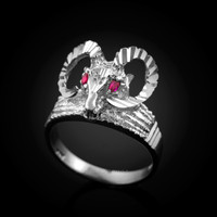 White Gold Ram's Head Ring