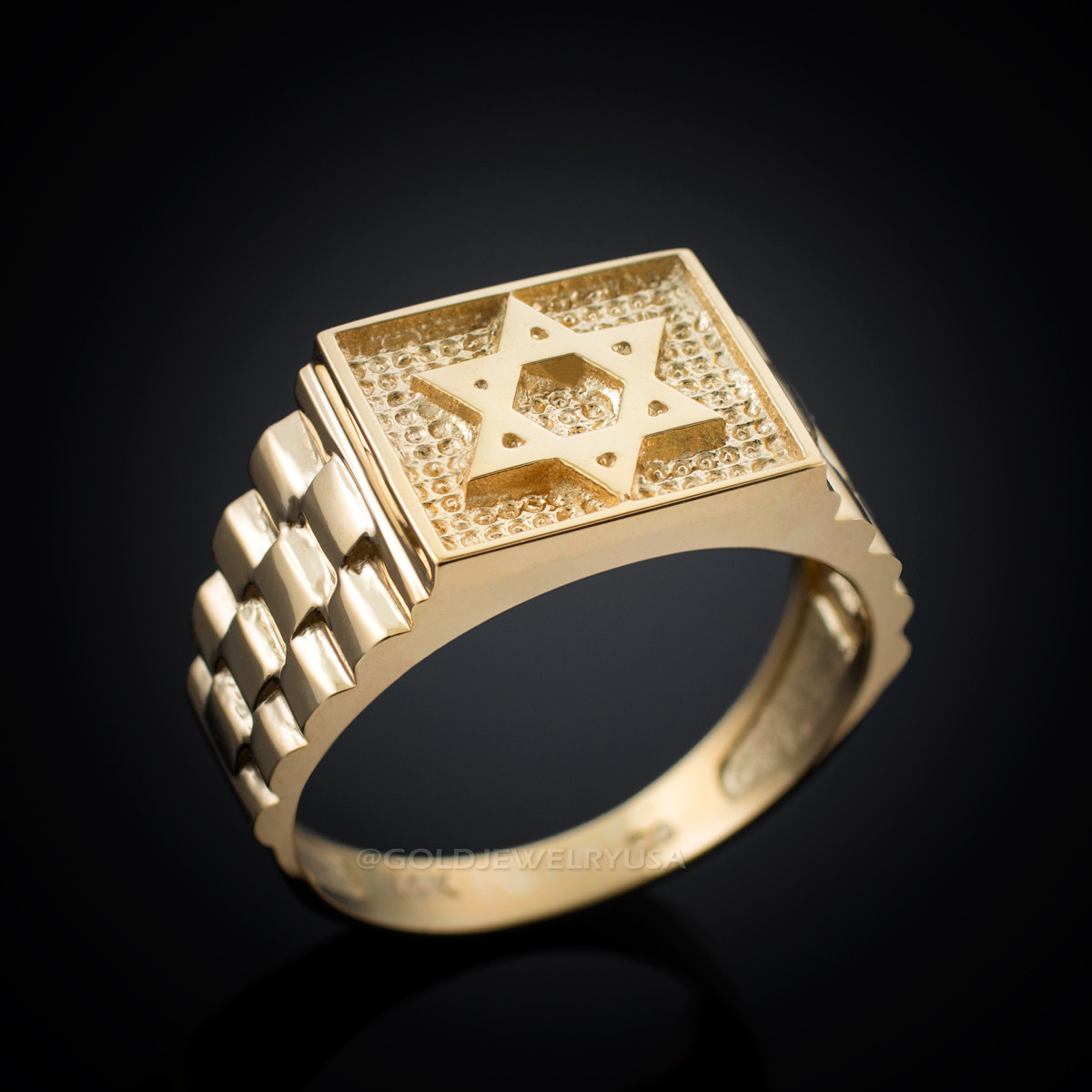 Gold Star Of David Rolex Design Mens Ring