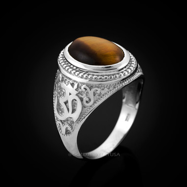 White Gold Om Ring. Tiger Eye Men's Om ring.