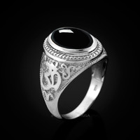 White Gold Om Ring. Men's Gold Onyx Ring.