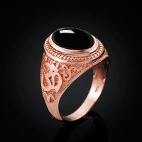 Rose Gold Om Ring. Rose Gold Onyx Ring.
