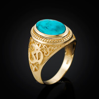 Gold Om Ring. Men's Gold Turquoise Ring.
