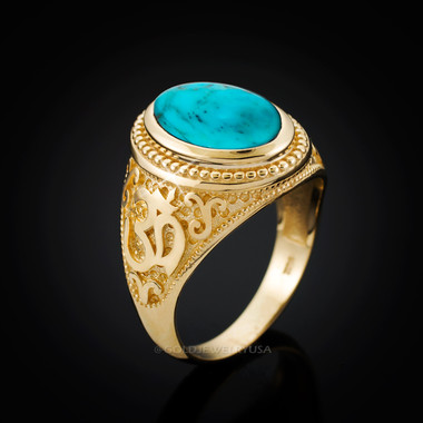 Mens Gold Om Oval Turquoise Ring