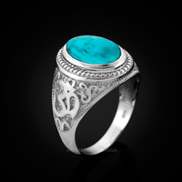 White Gold Om Ring. Men's Gold Turquoise Ring.