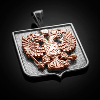 Two-Tone White Rose Gold Russian Federation Coat of Arms Badge Pendant