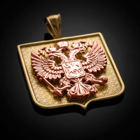 Two-Tone Yellow and Rose Gold Russian Federation Coat of Arms Badge Pendant