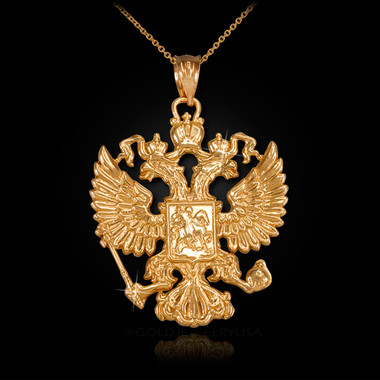 Gold Russian Imperial Coat Of Arms Double Headed Eagle Slavic Pendant Necklace