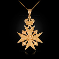 Gold Imperial Maltese Cross Pendant Necklace