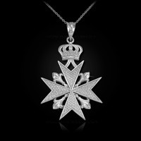 White Gold Imperial Maltese Cross Pendant Necklace