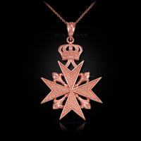 Rose Gold Imperial Maltese Cross Pendant Necklace
