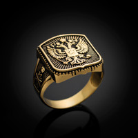 Gold Russian Imperial Crest Double-headed Eagle Mens Orthodox Ring