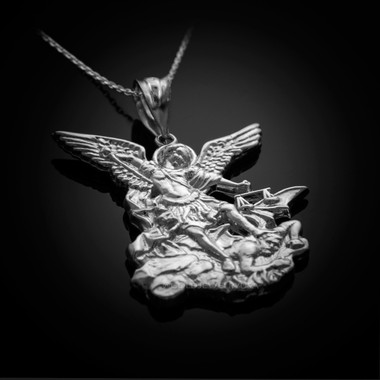 White gold st michael pendant necklace white gold st michael necklace aloadofball Choice Image