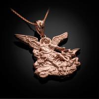 Saint Michael Rose Gold Pendant Necklace