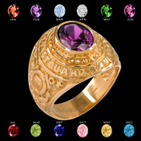 Gold US Coast Guard CZ Birthstone Ring