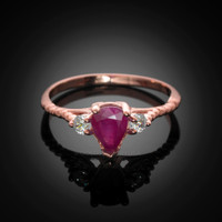 Rose Gold Rope Band Ruby White Topaz Stackable Promise Ring