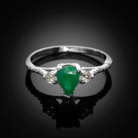 White Gold Rope Band Emerald White Topaz Stackable Promise Ring